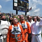 Members of Star Wars charity groups Rebel Legion and 501st Legion stare at the eclipse in Carbondale, Ill.