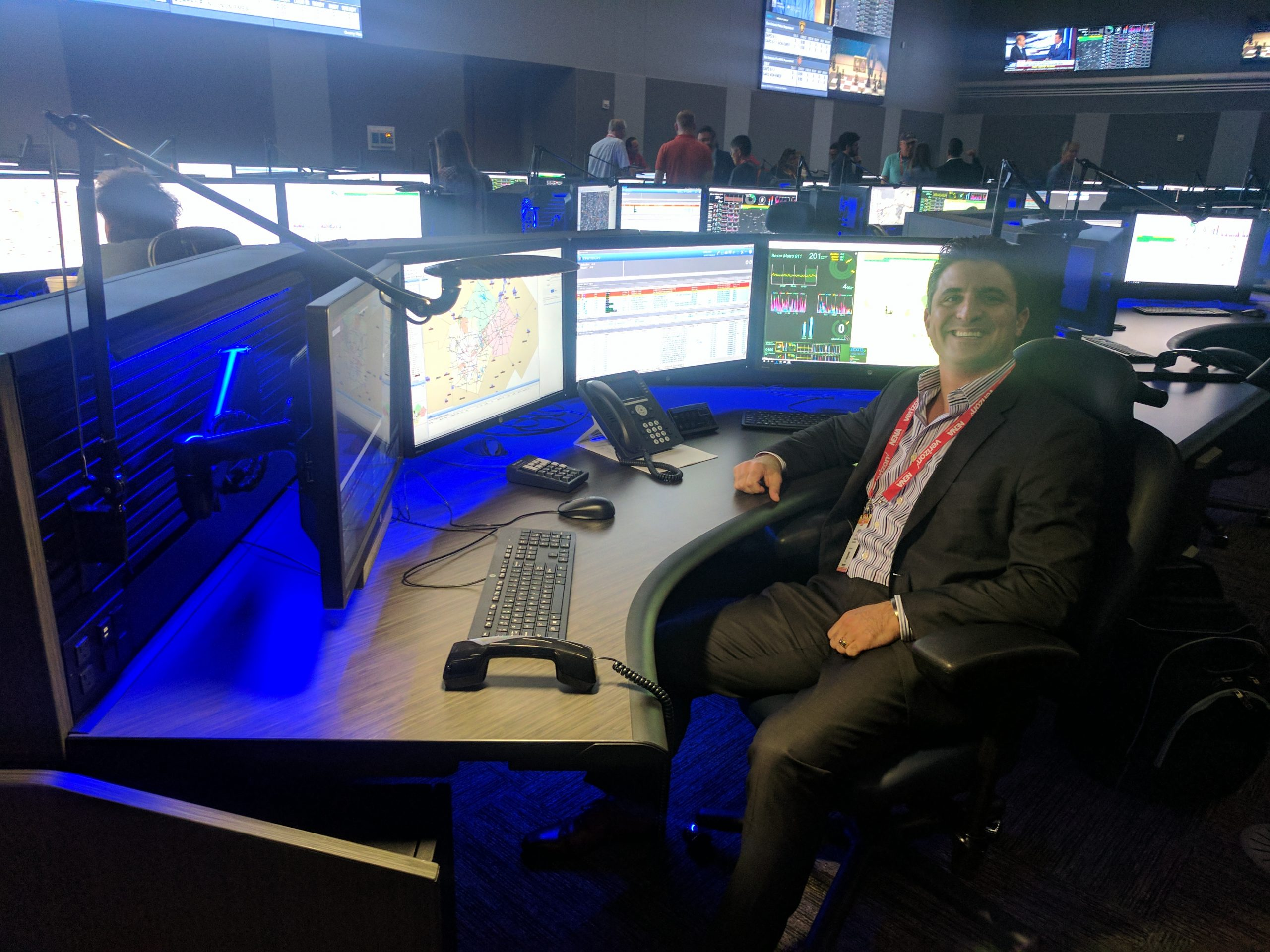 WiseWear founder Dr. Jerry Wilmink tours the Bexar Metro 911 Center