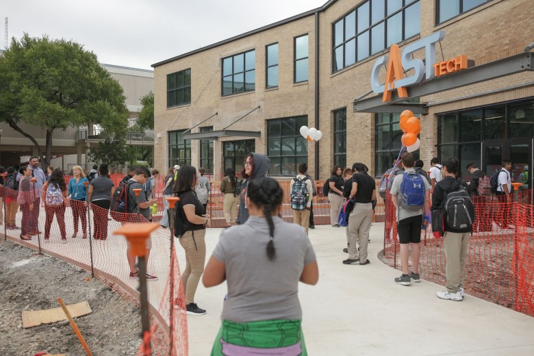 Freshmen gather in front of the entrance to CAST Tech on their first day of school. Freshmen gather in front of the entrance to CAST Tech on their first day of school.