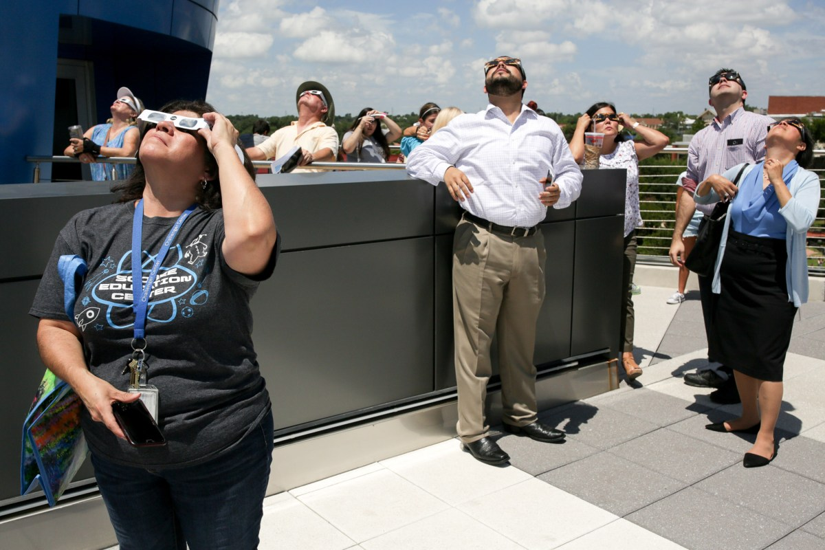 Lucky selected visitors were allowed to view the eclipse from the roof of the Scobee Planetarium at San Antonio College.