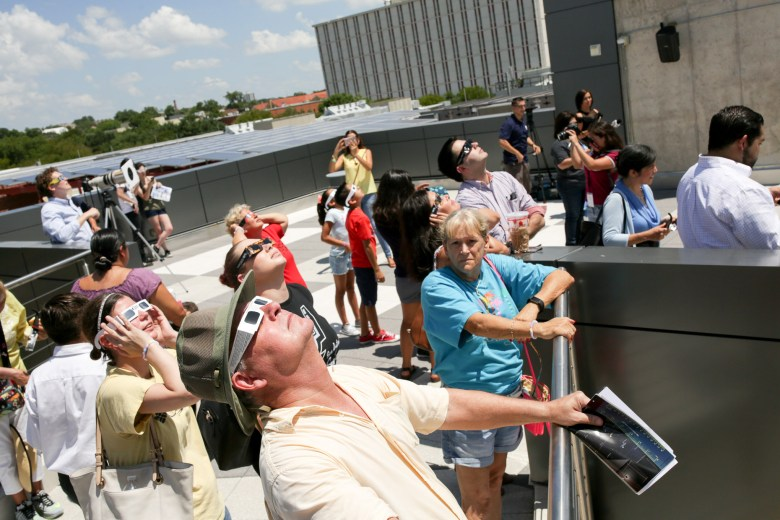 Rod Cezeaux arrived at the planetarium at 10 AM to view the partial eclipse on Monday.