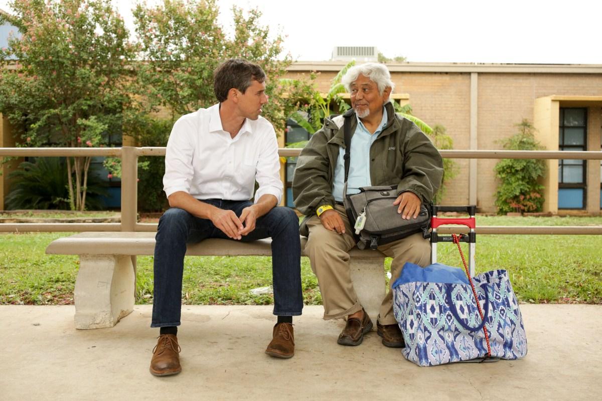 U.S. Representative Beto O'Rourke (D-TX) speaks with an evacuee of Corpus Christi.