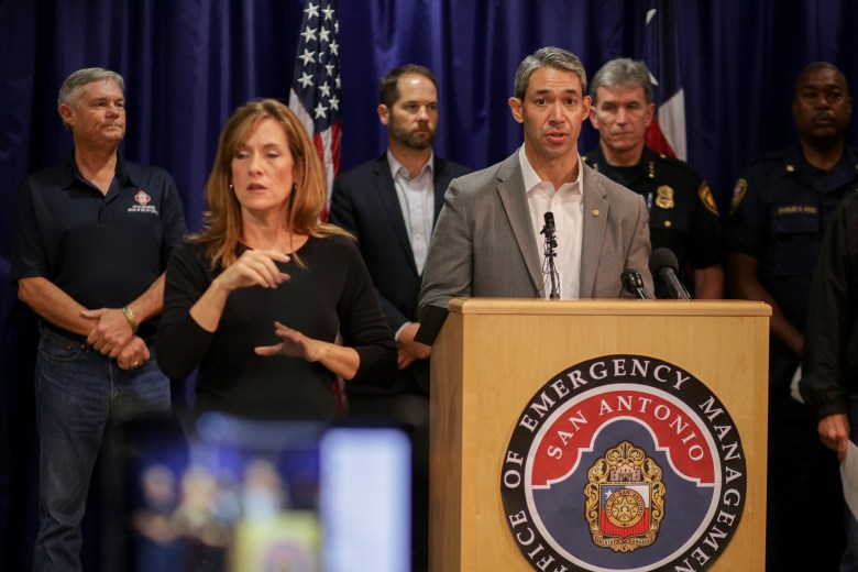 San Antonio Mayor Ron Nirenberg addresses the media during a briefing at the Emergency Operations Center.