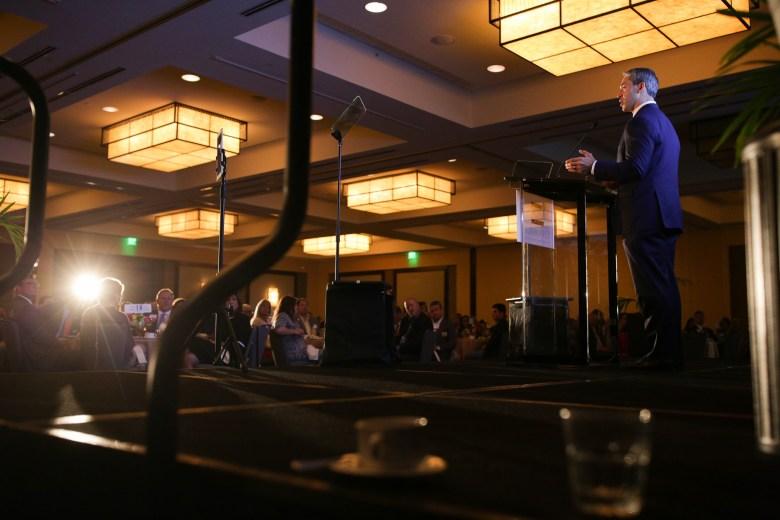 Ron Nirenberg addresses the North SA Chamber luncheon guests at the Hyatt Regency Riverwalk.