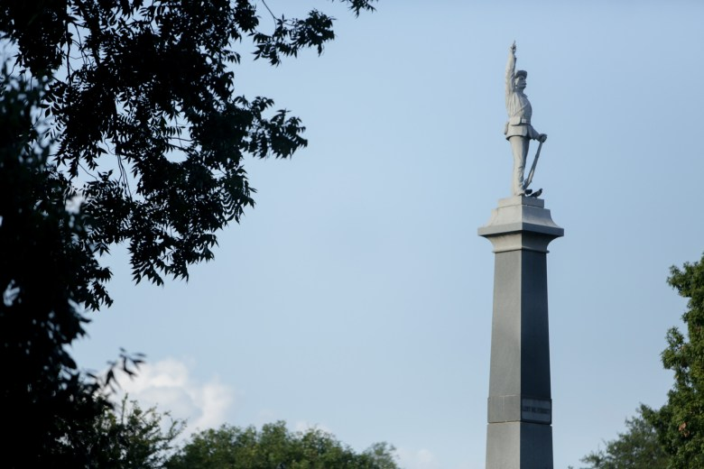 The Confederate monument stands about 40 feet high in the center of Travis Park.