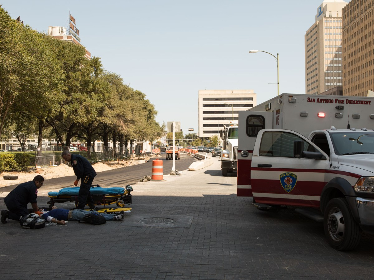 A pedestrian was hit by a rear view mirror of a moving car at the intersection of Main Street and Houston Street in downtown San Antonio in September 2017.