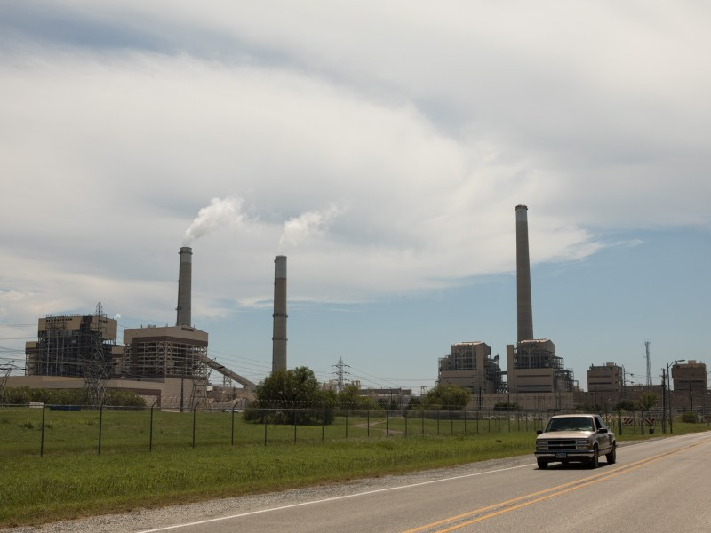 A car exits CPS Energy's J.K. Spruce Power Plant at Calaveras Lake.