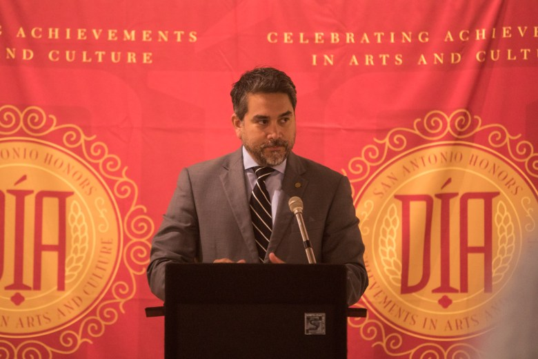 Councilman Roberto Treviño (D1) announces the Third Annual Distinction in the Arts Honorees at the Centro de Artes Gallery.