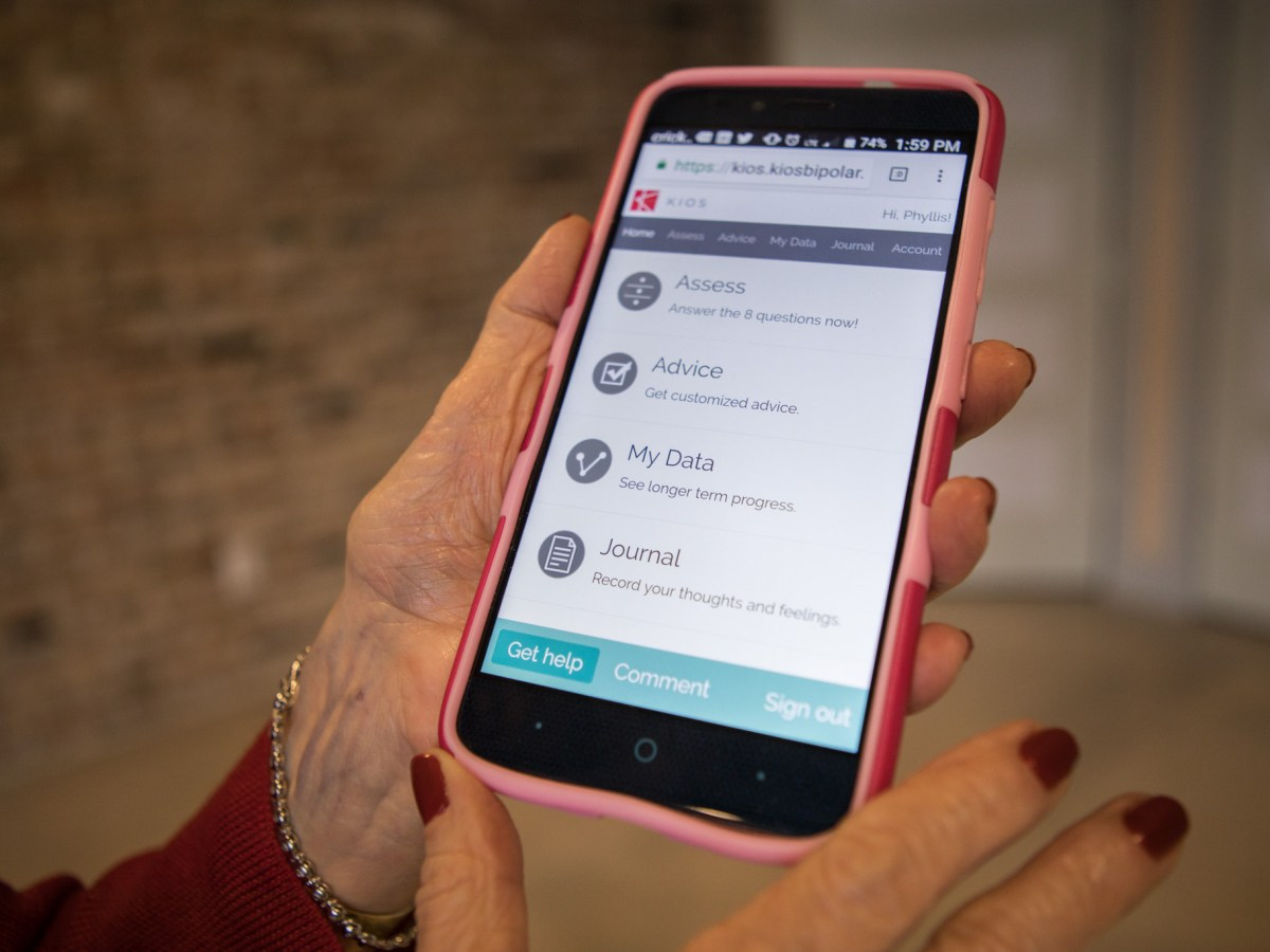 Biomedical Development Corporation Founder Phyllis Siegel demonstrates the KIOS Bipolar app.