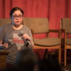 """American Civil Liberties Union of Texas LGBT and Reproductive Rights Strategist Rebecca Marques speaks at """"Son Tus Niños También: Trans Kids Back To School."""""""
