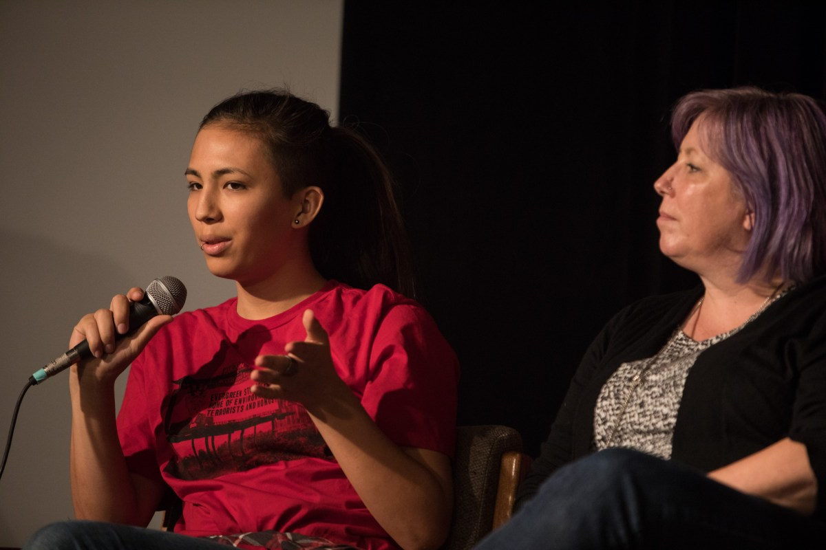 """(From left) Marci and Ginger Chun speak about their experience when Marci transitioned into a transgender woman at """"Son Tus Niños También: Trans Kids Back To School."""""""