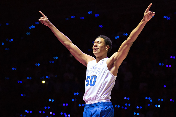 Justin Robinson #50 of the Duke Blue Devils waves to fans during player introductions during Countdown To Craziness at Cameron Indoor Stadium on October 22, 2016 in Durham, North Carolina.