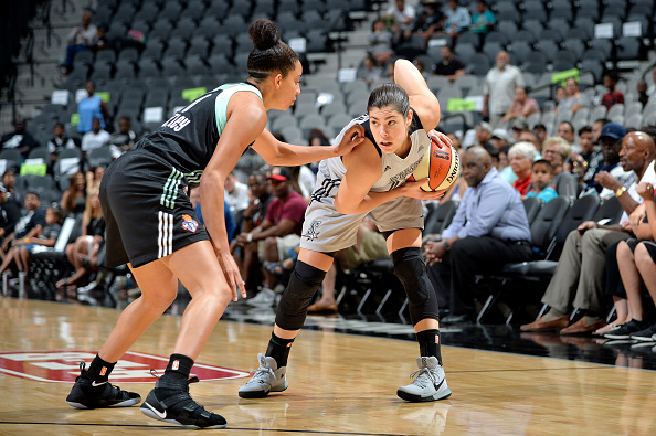 Kelsey Plum #10 of the San Antonio Stars handles the ball during the game against the New York Liberty during a WNBA game on August 1, 2017 at the AT&T Center in San Antonio, Texas.