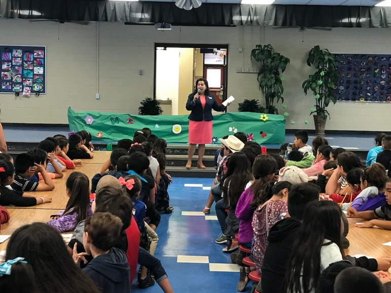 Councilwoman Rebecca Viagran (D3) speaks during career day at Pearce Primary.