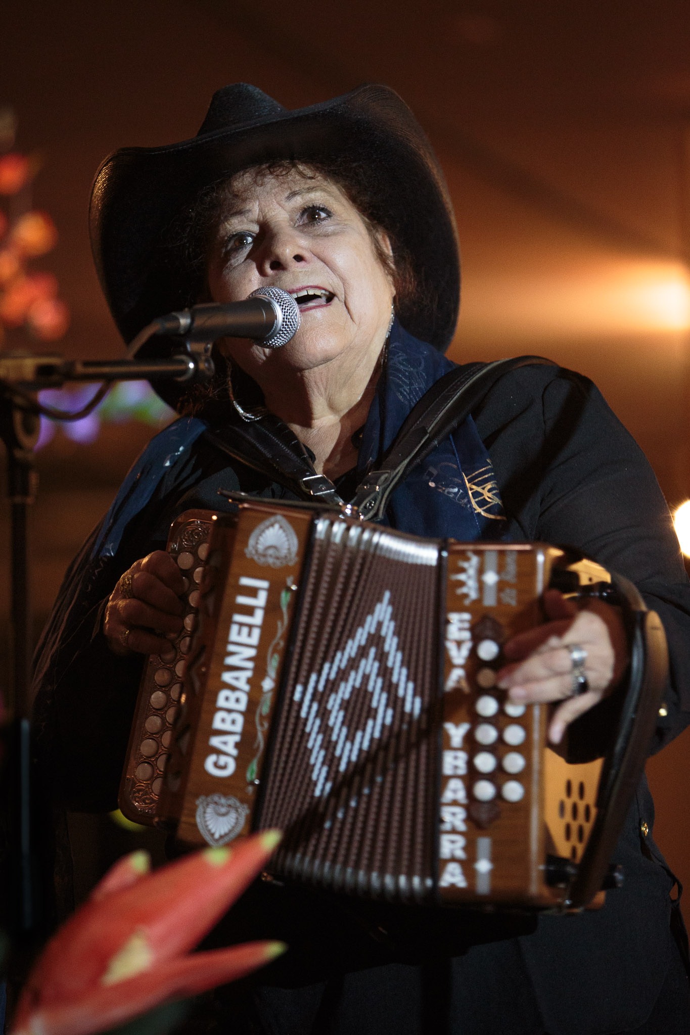 Eva Ybarra the 'Queen of the Accordion' performs alongside her band at the Institute of Texan Cultures following being honored as a National Heritage Fellow from the National Endowment of the Arts.
