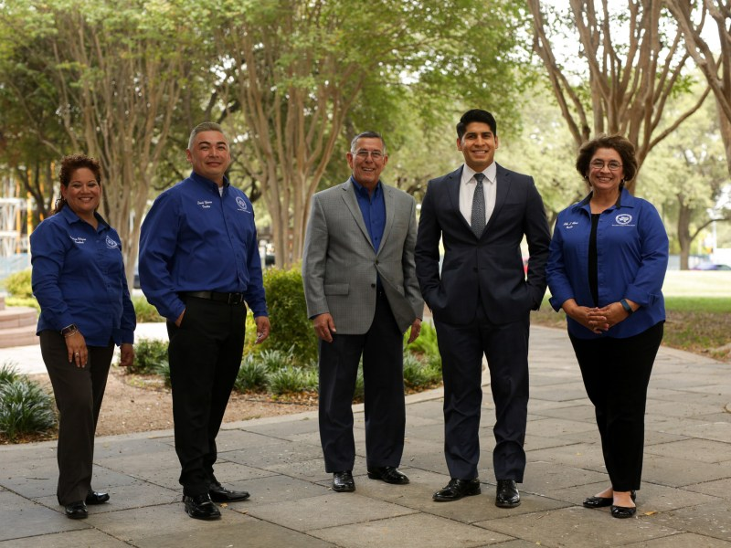 The South San Independent School District Board of Trustees along with Superintendent Abelardo Saavedra and District 4 Councilman Rey Saldaña (middle).