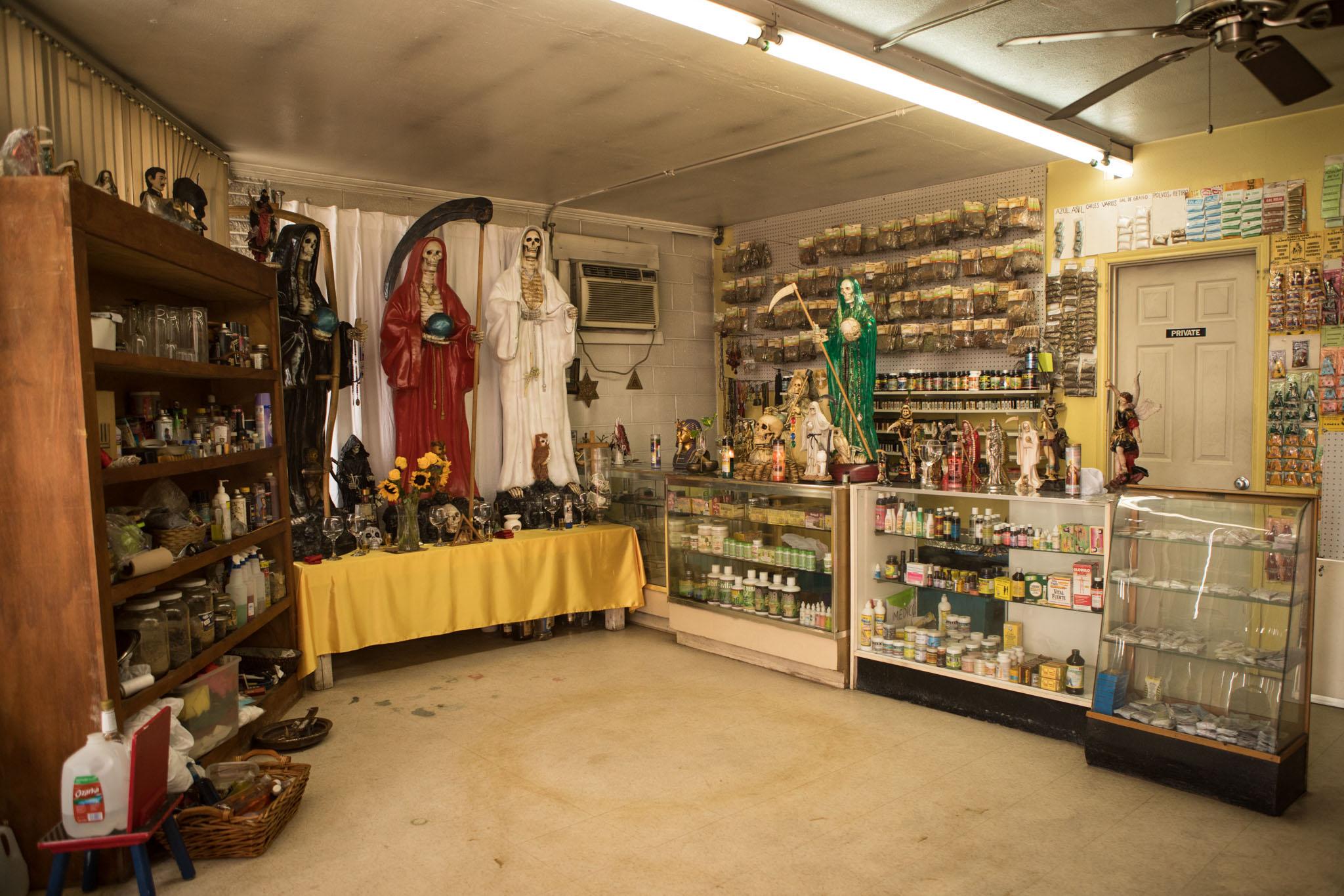 Botanica Obadina contains candles, herbs, and spiritual items.