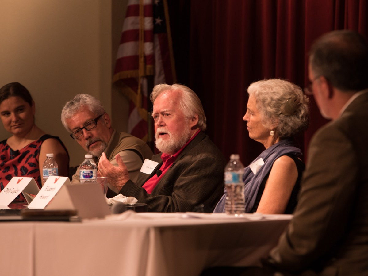 (From left) David Suzuki Foundation Director of Science Louise Hénault-Ethier, Director of Scientific Communication at the National Commission of Biodiversity in Mexico Carlos Galindo Leal, Monarch Watch Founder Chip Taylor, and Journey North Founder Elizabeth Howard respond to a question posed by moderator Dan Goodgame at the Butterflies Without Borders Symposium.