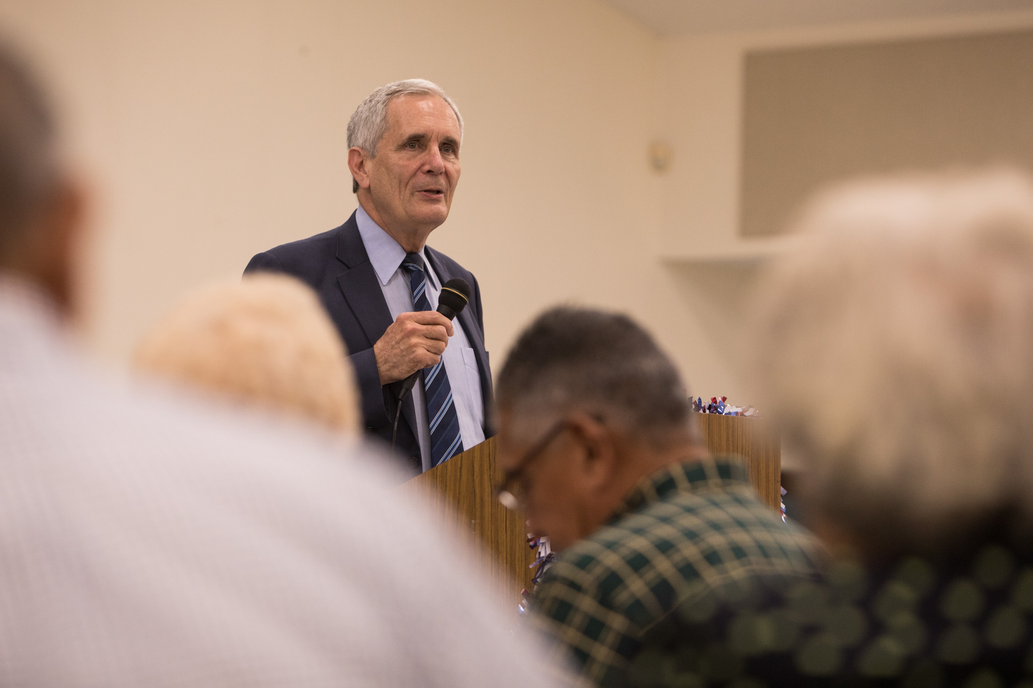U.S. Rep Lloyd Doggett (D-Texas) addresses the audience at a town hall meeting with the Government Hill Alliance Neighborhood Association at St. Patrick Catholic Church.