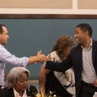 (From left) State Sen. José Menéndez (D26) and Councilman William 'Cruz' Shaw (D2) greet one another before a town hall meeting with the Government Hill Alliance Neighborhood Association at St. Patrick Catholic Church.