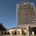 This Texas Historical Plaque in front of San Pedro Library details the Texas and the Civil War Committee on Public Safety which provided for protection during the Civil War.