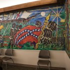 """The mural """"Spirit of the Black Texans from Africa to Dr. M.L. King"""" by F.L. Spellmon on August 1977 at the Claude Black Community Center depicts the confederate flag."""