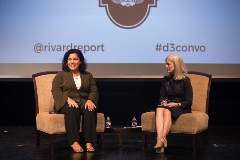 """(From left) Councilwoman Rebecca Viagran (D3) converses with moderator Rivard Report Editor-In-Chief Beth Frerking at """"Conversations with the Council."""""""