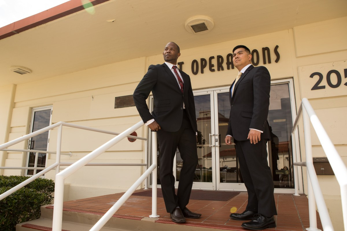 (From left) Dynamic Advancement Vice President of Operations Jordan Davis and Dynamic Advancement President Kanakaokekai 'Kekai' Namauu stand outside of their office and classroom in Port San Antonio.
