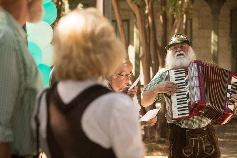 Beethoven Mäennerchor Dirigent David Nelson plays the accordion before the Hemisfair 50th Anniversary Announcement Press Event.