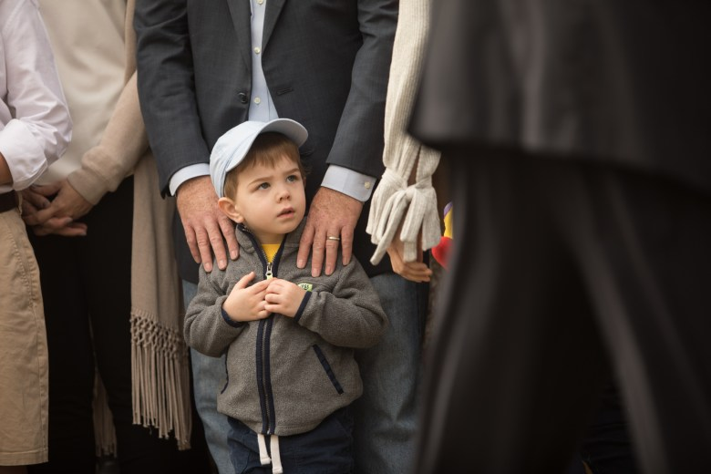 Bexar County Judge Nelson Wolff's grandson stands at his campaign announcement in front of Bexar County Courthouse.