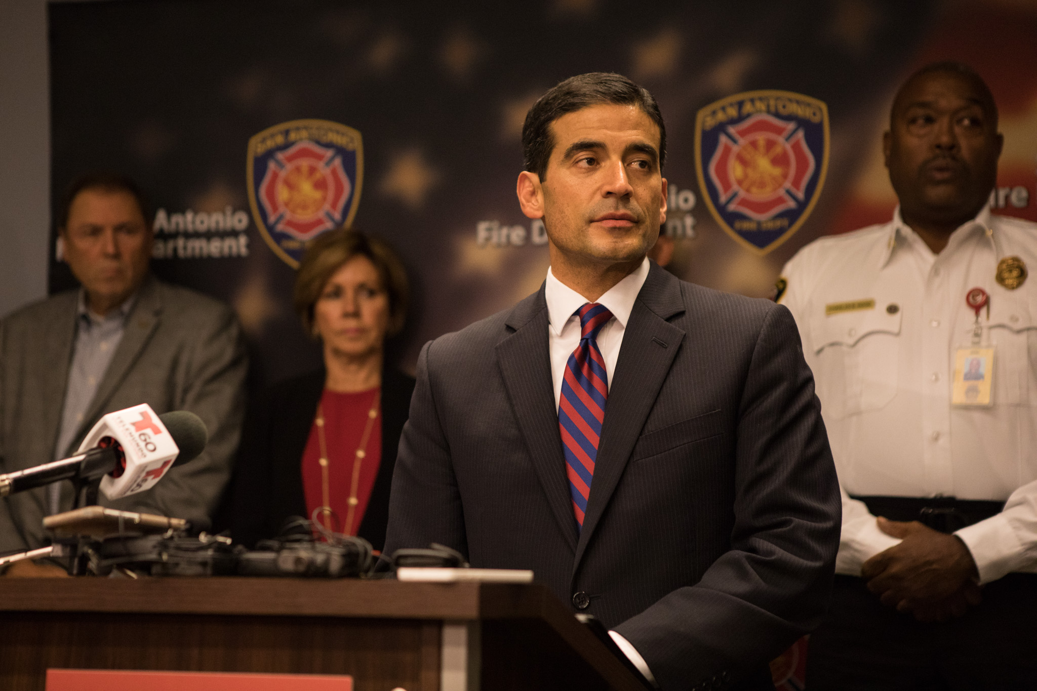 """Bexar County District Attorney Nicholas """"Nico"""" LaHood gives an update at a press conference regarding the Ingram Shopping Center fire investigation."""