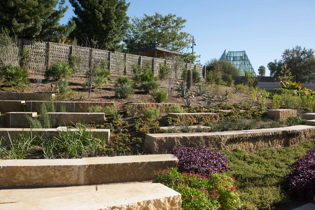 The May's Family Display Garden greets guests upon entry to the San Antonio Botanical Garden.