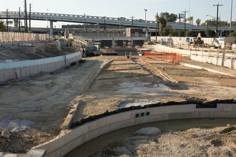 Construction of phase one of the San Pedro Creek Restoration Project.