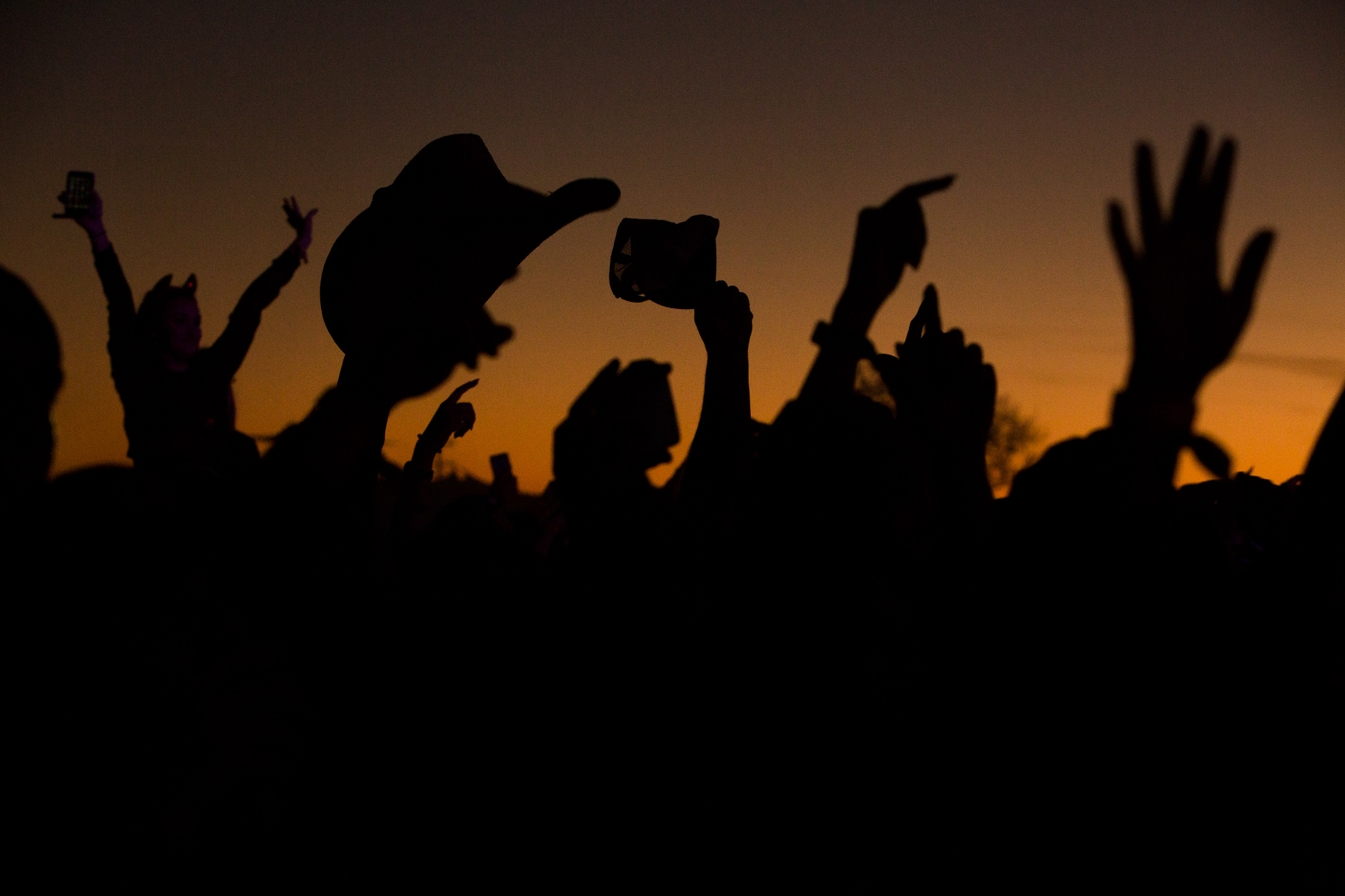 Attendees raise their hands, phones, and a cowboy hat into the air during a performance by Carnage.