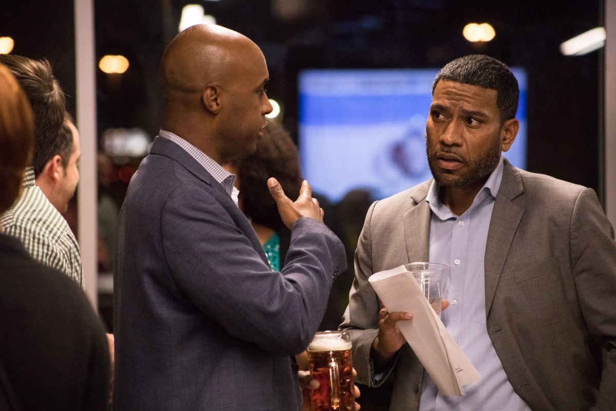 """(From left) Port San Antonio VP Business Development Marcel Johnson speaks with Councilman William 'Cruz' Shaw (D2) before """"Conversations with the Council"""" at Alamo Beer Company."""