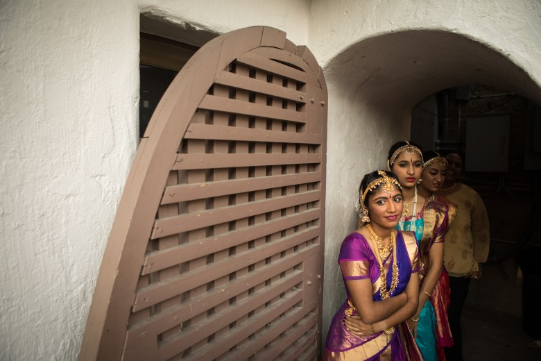 Natyanjali Kuchupudi Dance School dancers stand backstage at Arneson River Theatre during Diwali San Antonio: Festival of Lights.