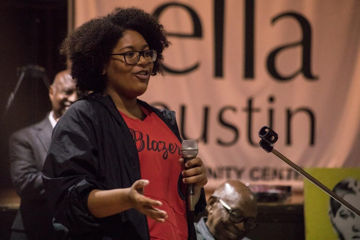 Trinity University Student Camille Johnson speaks at NAACP Forward at Ella Austin Community Center.