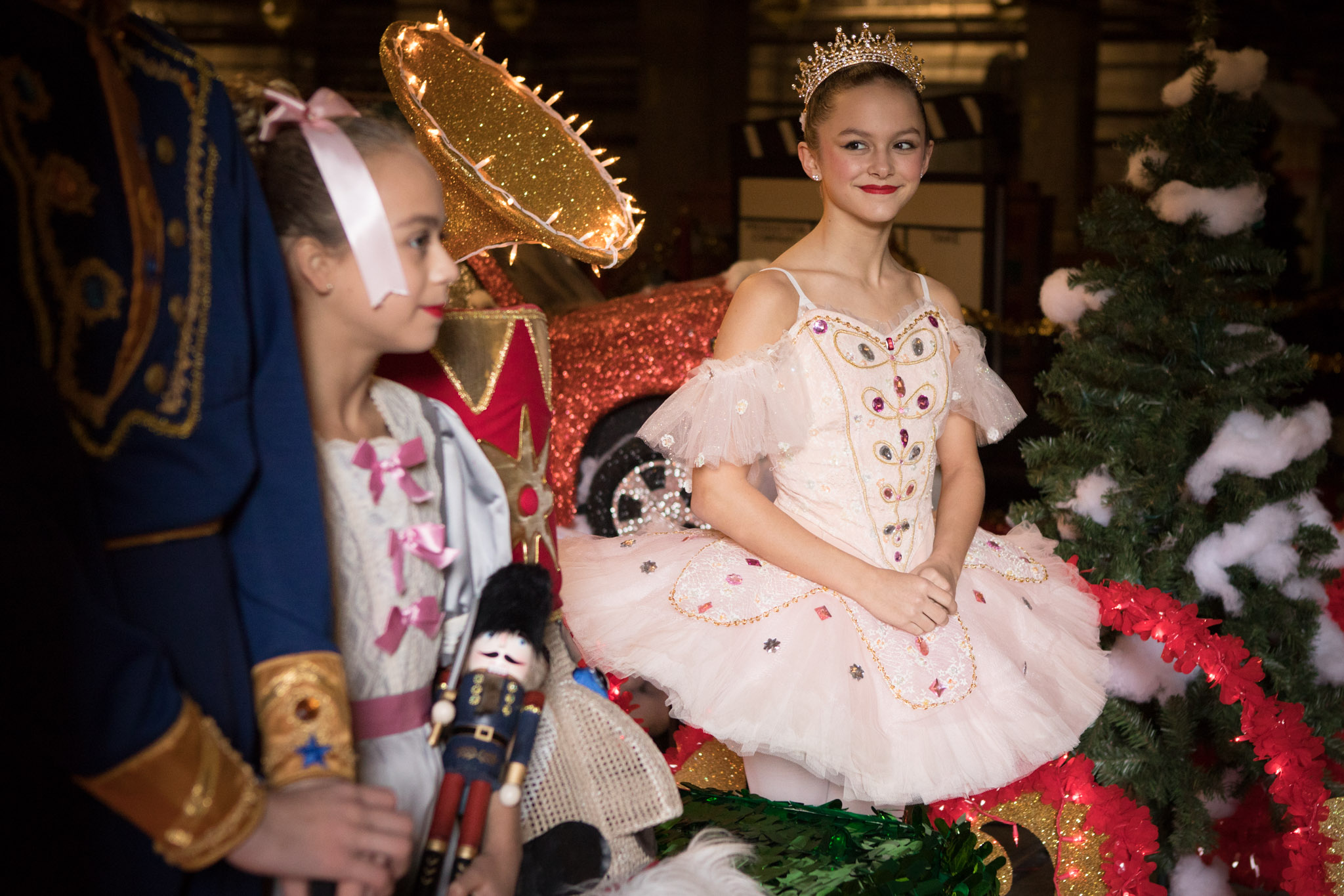 Madeleine Burroughs, 13, a dancer in the Alamo City Dance Company, stands on the Nutcracker barge in preparation for the Ford Holiday River Parade.