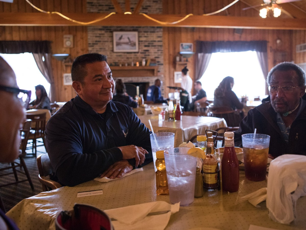 (From left) Sandra Parker, Sal Orozpe and Aubrey Griffin enjoy lunch together at Acadiana Café on Veterans Day.