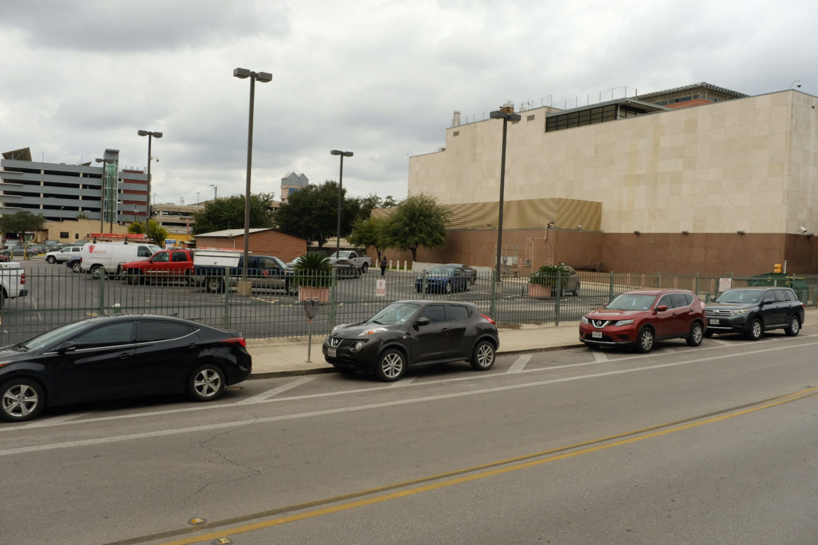 The proposed parking garage site at 126 East Nueva.