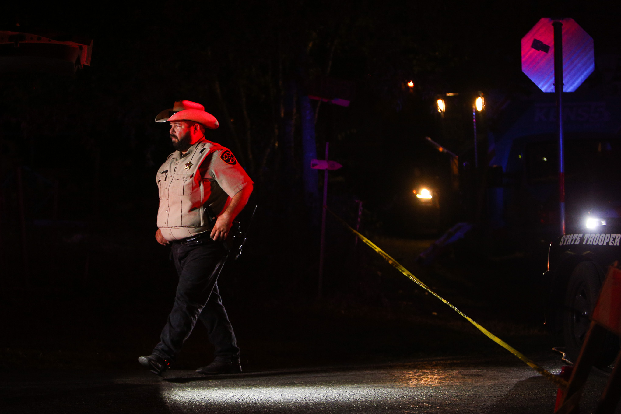 A Texas State Trooper secures the perimeter of the crime scene surrounding the First Baptist Church in Sutherland Springs.