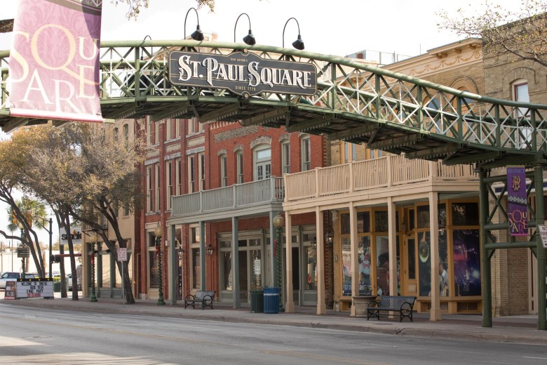 Historic St. Paul Square lines both sides of Commerce Street just East of downtown San Antonio.