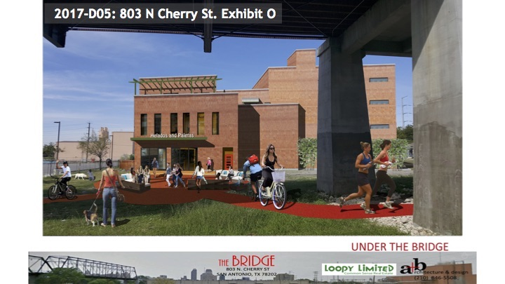 """This rendering of the proposed """"The Bridge"""" multi-family mixed use development shows the open, public space between the bridge and building."""