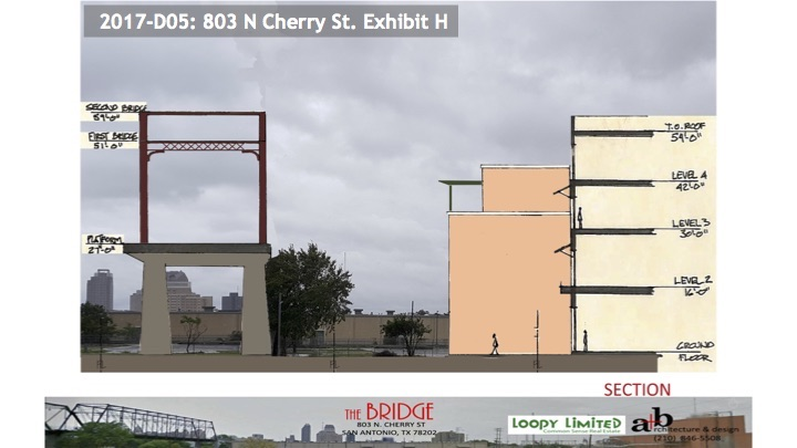 """This schematic shows the height of Hays Street Bridge in relations to the proposed """"The Bridge"""" mixed use development."""