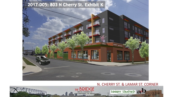 This rendering shows the view, or lack there of, of the bridge from the corner of North Cherry and Lamar streets.