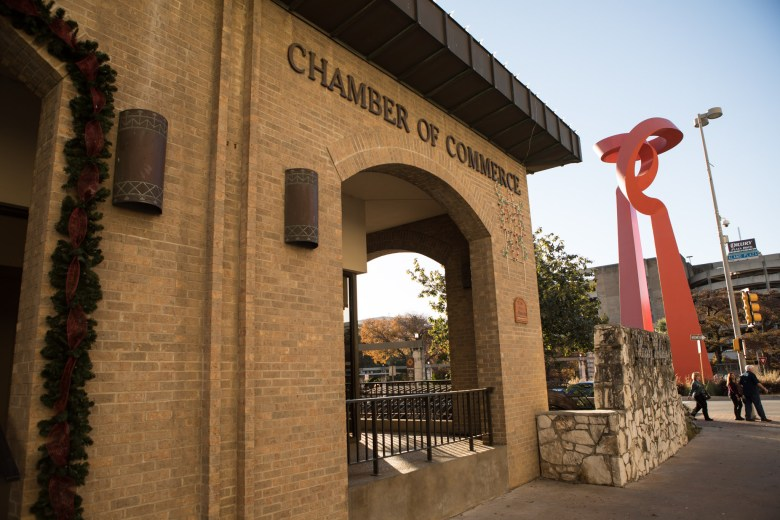 The San Antonio Chamber of Commerce headquarters is located at 602 E Commerce St.