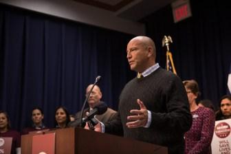 Former San Antonio Mayor Ed Garza speaks during a media briefing regarding Tobacco 21.