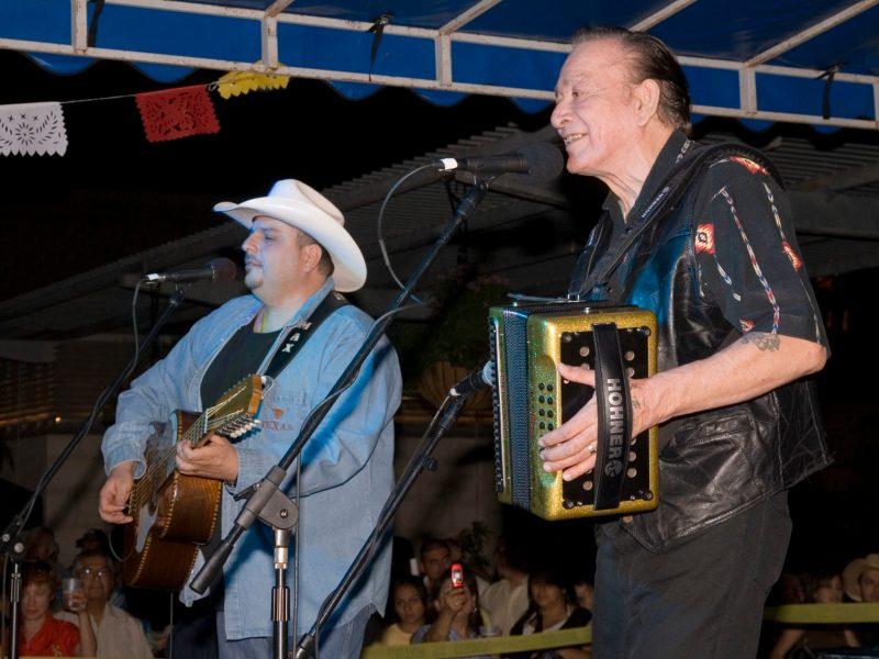 Flaco Jimenez performs with Max Baca of Los Texmaniacs.