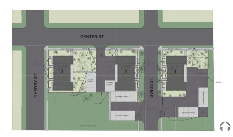 Previously approved site plan for City Center Lofts.