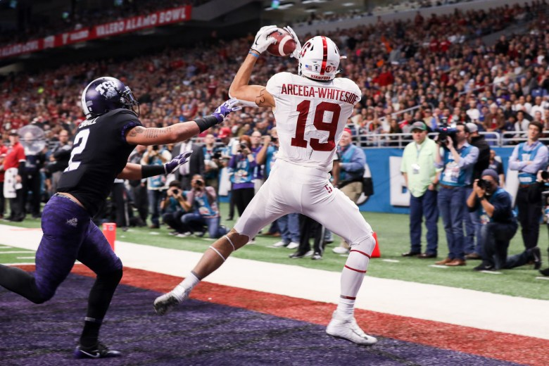 Stanford wide receiver JJ Arcega-Whiteside catches a touchdown pass in the TCU end zone.